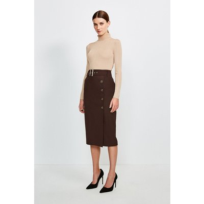 Karen Millen Polished Stretch Wool Blend Pencil Skirt -, Brown