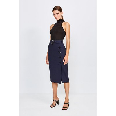 Karen Millen Polished Stretch Wool Blend Pencil Skirt -, Navy