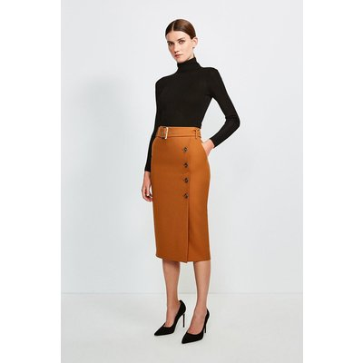Karen Millen Polished Stretch Wool Blend Pencil Skirt -, Tan