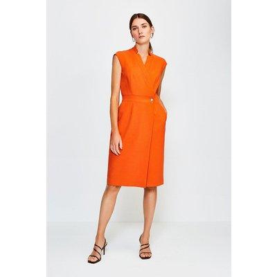 Karen Millen Collar Wrap Sleeveless Midi Dress, Orange