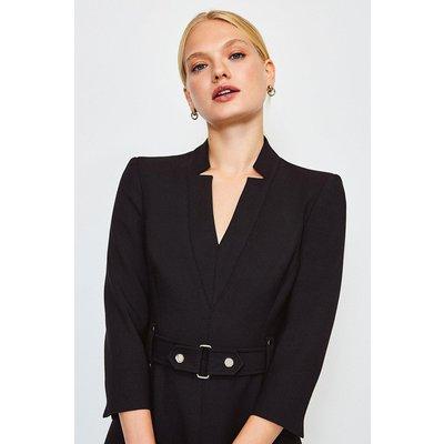 Karen Millen Forever Cinch Waist A-Line Dress, Black
