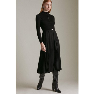 Karen Millen Long Sleeve Zip roll/polo neck Pleated Skirt Dress -, Black