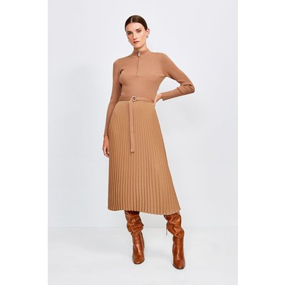 Karen Millen Long Sleeve Zip roll/polo neck Pleated Skirt Dress -, Camel