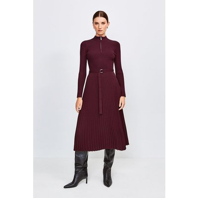 Karen Millen Long Sleeve Zip roll/polo neck Pleated Skirt Dress, Fig