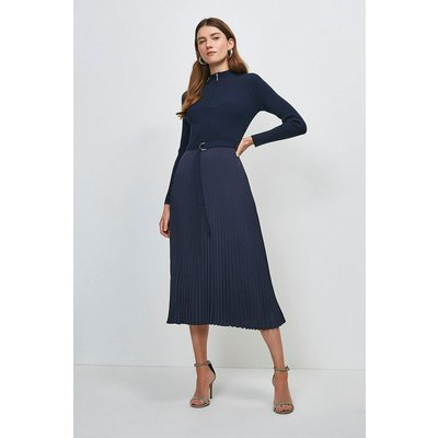 Karen Millen Long Sleeve Zip roll/polo neck Pleated Skirt Dress -, Navy