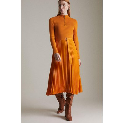 Karen Millen Long Sleeve Zip roll/polo neck Pleated Skirt Dress -, Orange