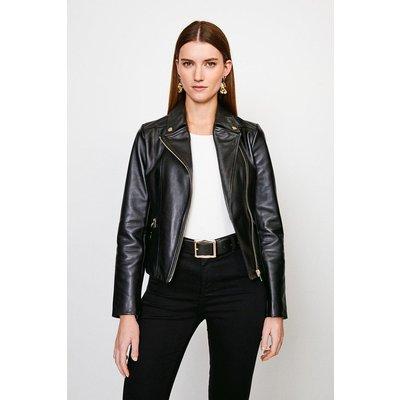 Karen Millen Classic Leather Biker Jacket -, Black