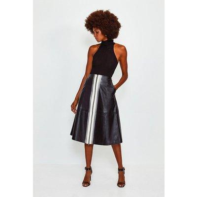 Karen Millen A Line Zip Colour Block Skirt, Black