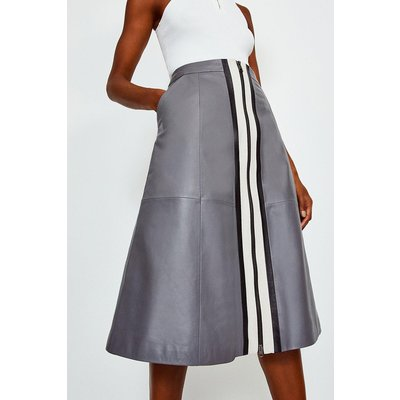 Karen Millen A Line Zip Colour Block Skirt, Grey