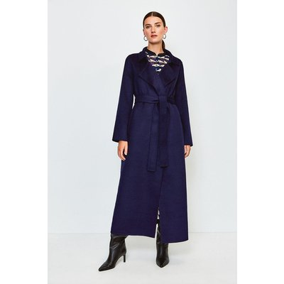 Karen Millen Wool Blend Maxi Hand Finished Coat, Navy