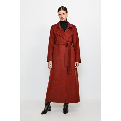Karen Millen Wool Blend Maxi Hand Finished Coat, Orange