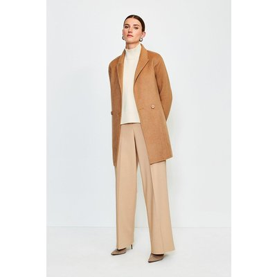 Karen Millen Wool Blend Hand Finished Belted Short Jacket, Camel