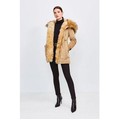 Karen Millen Faux Fur Hood and Trim Parka Coat, Camel