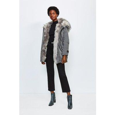 Karen Millen Faux Fur Hood and Trim Parka Coat, Grey