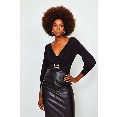 Karen Millen Wrap Front Jersey Long Sleeve Top -, Black