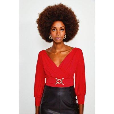 Karen Millen Wrap Front Jersey Long Sleeve Top -, Red