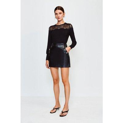 Karen Millen Lace Jersey Long Sleeve Top -, Black