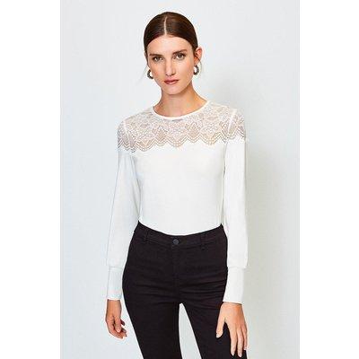Karen Millen Lace Jersey Long Sleeve Top -, Ivory