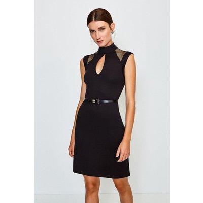 Karen Millen Ponte Mesh Panelled Belted Shift Dress -, Black