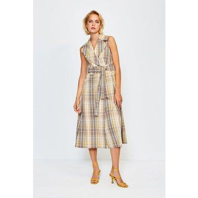 Karen Millen Check Sleeveless Belted Midi Dress, Multi