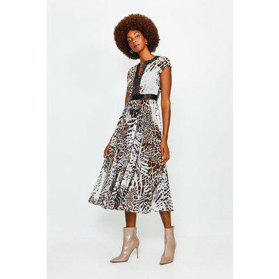 Karen Millen Beaded And Print Pleat Midi Dress -, Blackwhite