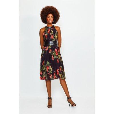Karen Millen PU Trim Pleated Print Midi Dress -, Black