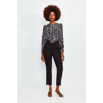 Karen Millen Long Sleeve Printed Pintuck Blouse, Black