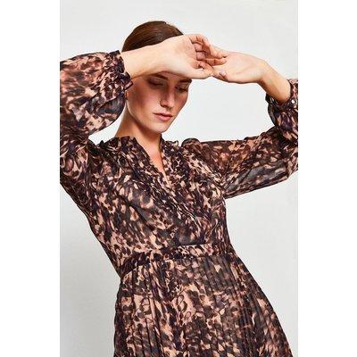 Karen Millen Printed Pintuck Midi Dress, Brown