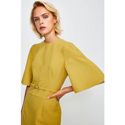 Karen Millen Flare Sleeved Shift Dress, Yellow