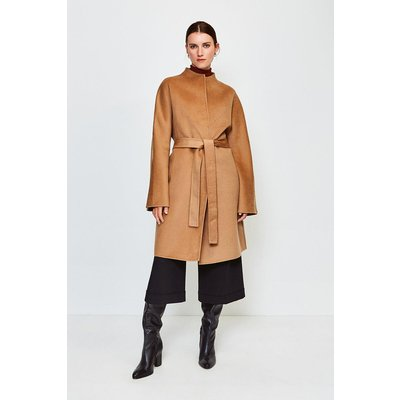 Karen Millen Wool Blend Hand Finished Coat, Camel