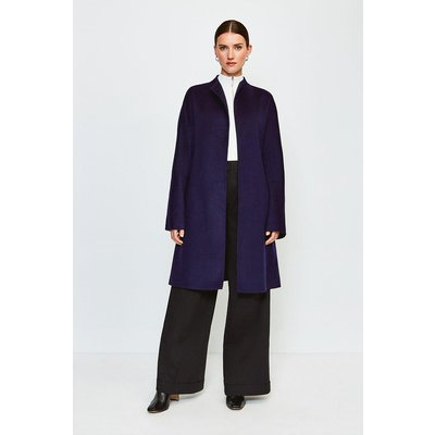 Karen Millen Wool Blend Hand Finished Coat, Navy