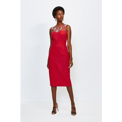 Karen Millen Diamante Cutwork Midi Dress Fire, Red