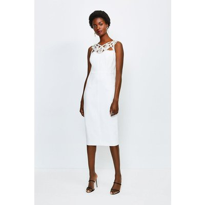 Karen Millen Diamante Cutwork Midi Dress, Ivory