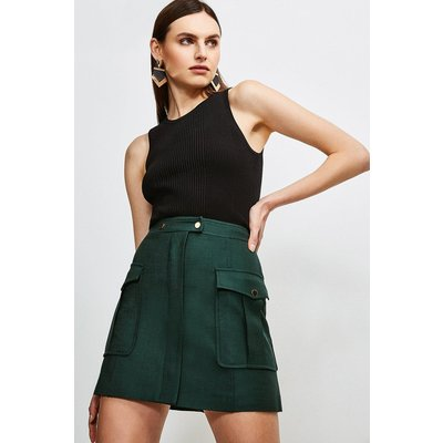 Karen Millen Luxe Stretch Twill Pocket A Line Skirt -, Evergreen