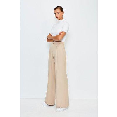 Karen Millen Clean Tailored Wide Leg Trousers, Beige