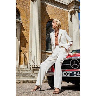 Karen Millen Clean Tailored Wide Leg Trousers, Ivory