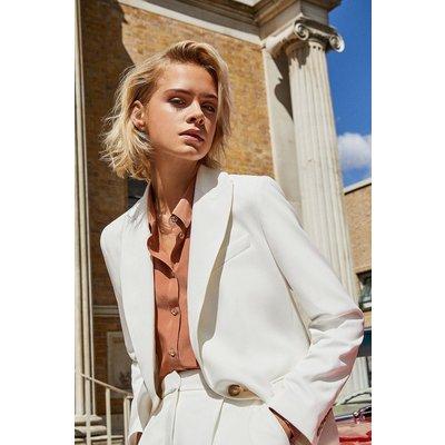 Karen Millen Clean Tailored Jacket, Ivory