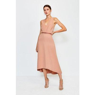 Karen Millen Plunge Belted Midi Dress, Cappucino