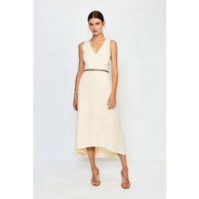 Karen Millen Plunge Belted Midi Dress, Ivory