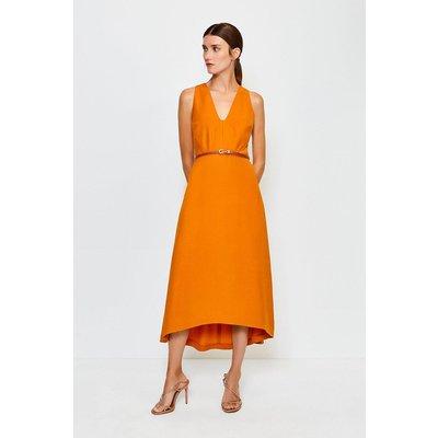 Karen Millen Plunge Belted Midi Dress, Orange