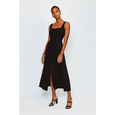 Karen Millen Panelled Fluid Midi Dress, Black