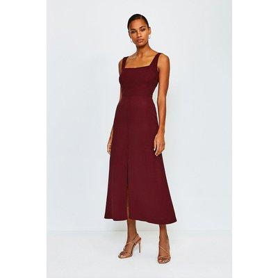 Karen Millen Panelled Fluid Midi Dress, Brick