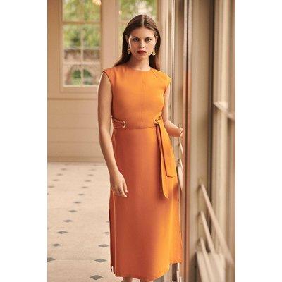 Karen Millen Eyelet Detail Midi Dress, Orange
