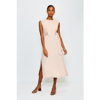 Karen Millen Eyelet Detail Midi Dress, Pink