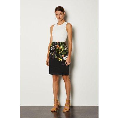 Karen Millen Stretch Cotton Printed Pencil Skirt, Black