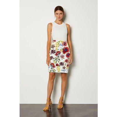Karen Millen Stretch Cotton Printed Pencil Skirt, Multi