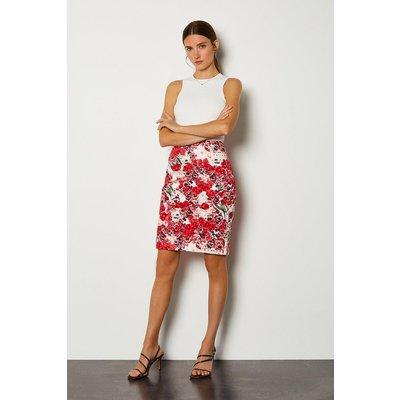 Karen Millen Stretch Cotton Printed Pencil Skirt, Navy