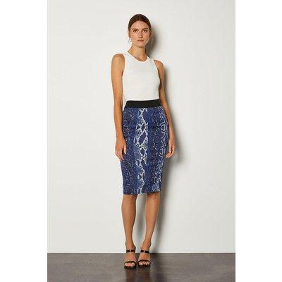 Karen Millen Printed Pencil Skirt, Blue