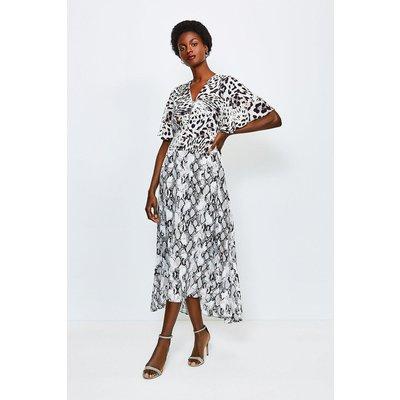 Karen Millen Animal Printed Mix Midi Dress -, Leopard