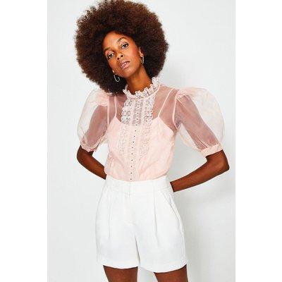 Karen Millen Organza Lace Trim Short Sleeve Top, Pink